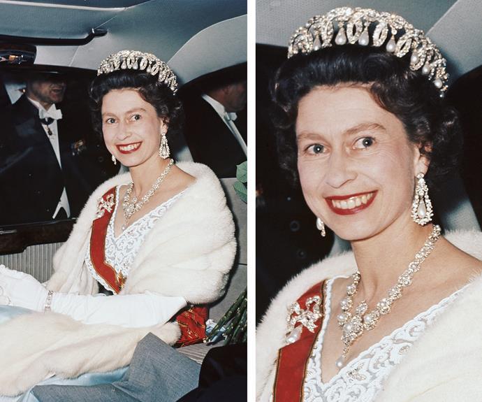 The Queen always looks beautiful in her regal wear.