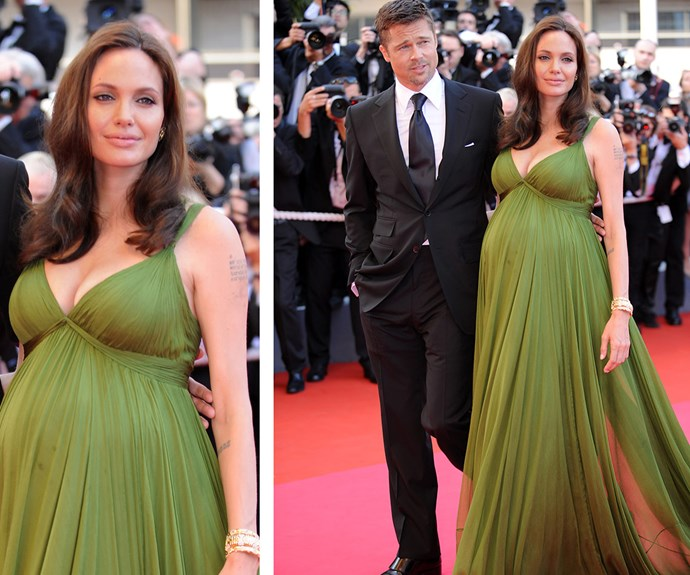 With her man by her side, the talented actress works the 2008 Cannes Red Carpet during her pregnancy with twins.