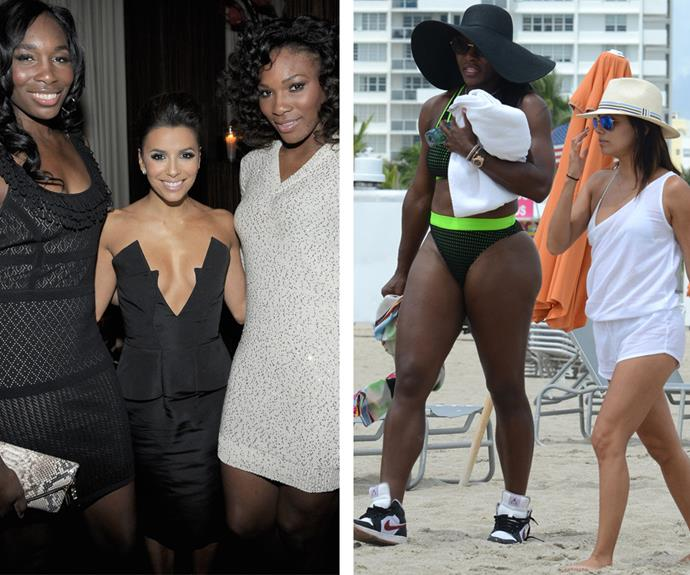 Pint-sized actress Eva Longoria is firm friends with tennis pros Venus and Serena Williams.