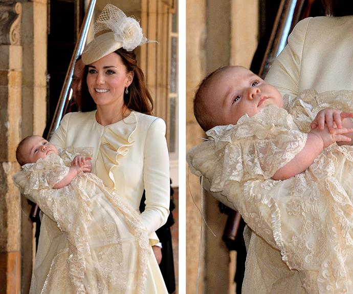 At three-months old, George was christened at the Chapel Royal at St James's Palace in London on October 23, 2013.