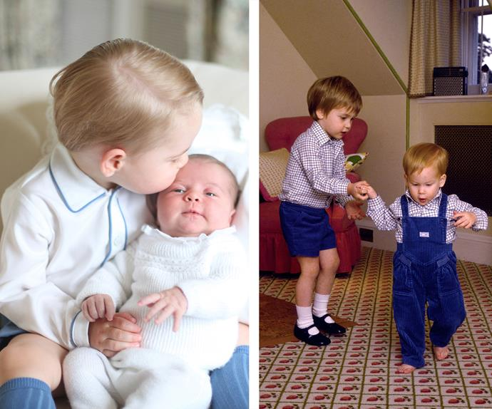 Strong bonds run in this family, that's for sure! Just like George and Charlotte, William and Harry were extremely close too. Wills helps his little brother take his first steps at Kensington Palace in 1985.