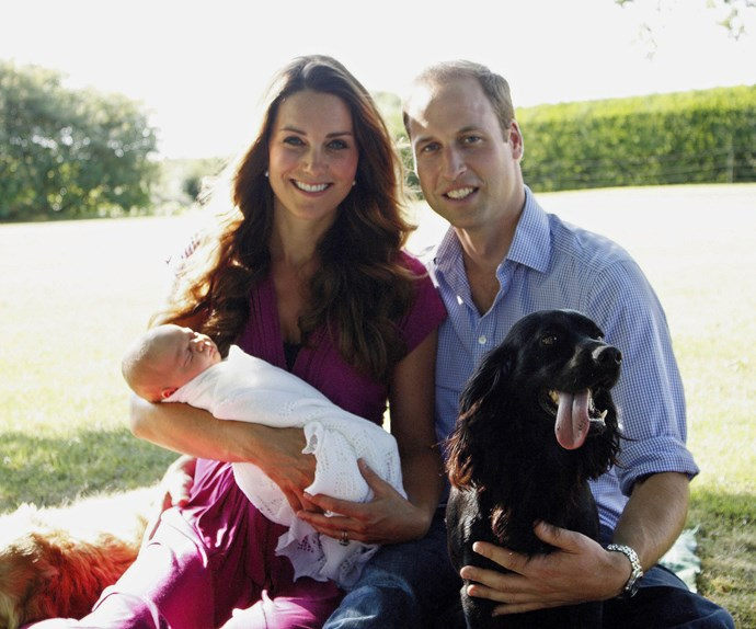 One of the very first family portraits of Prince William, Duchess Catherine and their first-born son (with a Lupo cameo), taken by Michael Middleton.