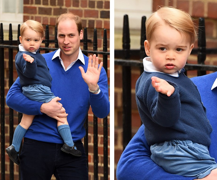 George waves to the public on his way to meet his baby sister!