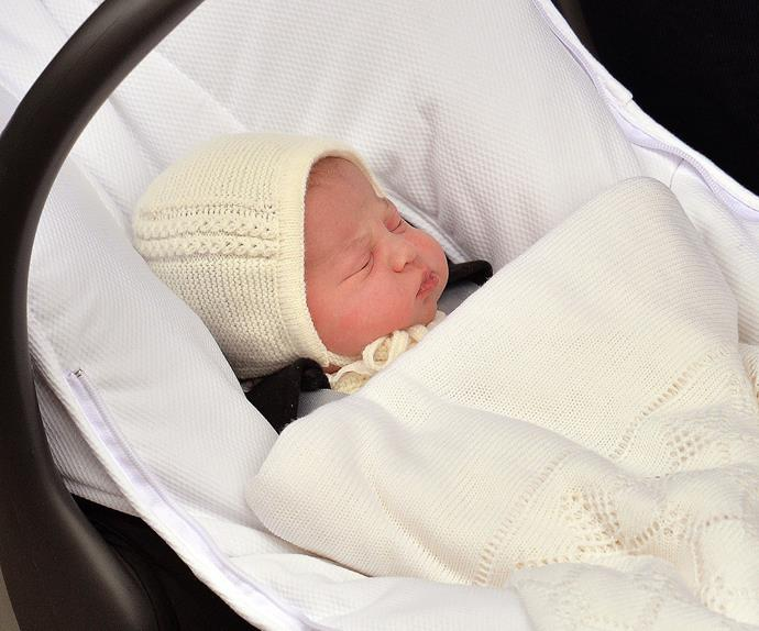 Sleeping beauty! One of our very first glimpses of Princess Charlotte Elizabeth Diana of Cambridge, who was born on May 2nd 2015.