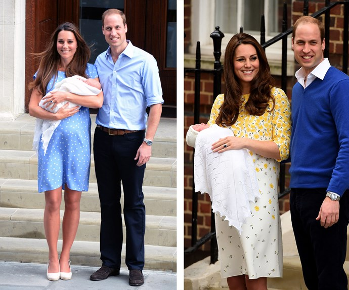 Then and now! William and Kate introduce the world to George on July 22, 2013 and almost a year and a half later, they do it all over again with Charlotte.