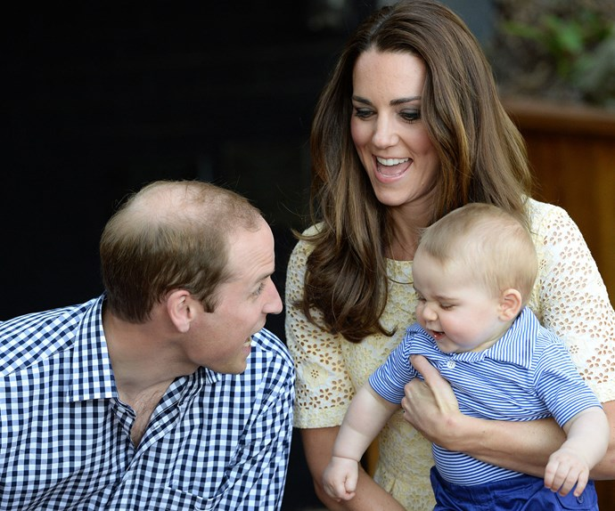 William, Kate and George share a chuckle in Sydney in 2014.