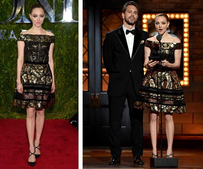 You can't go wrong with Oscar de la Renta! Just ask Amanda Seyfried, pictured with fellow presenter Thomas Sadoski, who totally rocked this gold and black number.