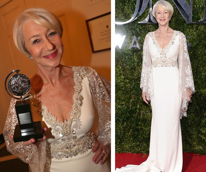 All hail the ever flawless Helen Mirren who turned heads in a cream Badgley Mischka gown. The 69-year-old scored the Best Actress in a play thanks to her moving performance in *The Audience.*