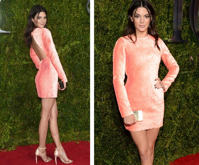 Reality star and model Kendall Jenner showed off her endless legs in this peach Calvin Klein number which featured a sexy backless element.