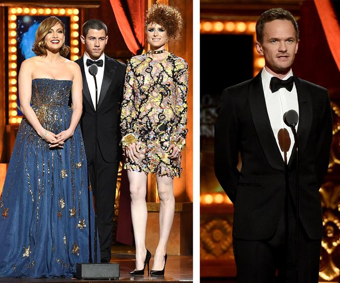 Kiesza, Nick Jonas, Jennifer Lopez take to the stage to announce an award while past Tony winner Neil Patrick Harris later presented a gong.