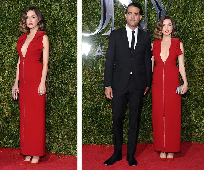 Aussie actress Rose Byrne looked ravishing in a plunging red number and put on an amorous display with boyfriend Bobby Cannavale.