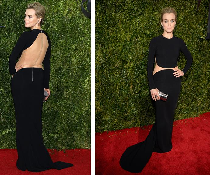 *Orange Is The New Black* beauty Taylor Schilling dared to bare in a backless Michael Kors gown.