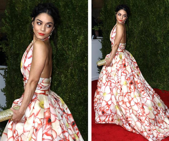Vanessa Hudgens brought some bright floral vibes to the red carpet thanks to this sleek Naeem Khan dress.