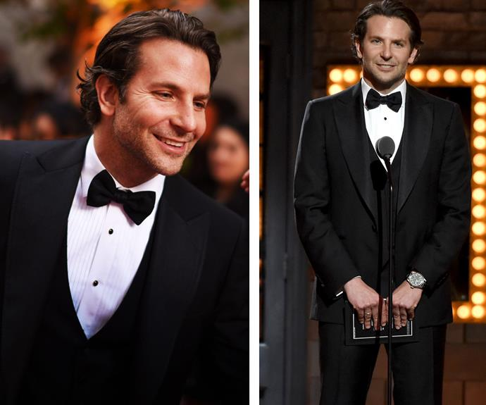 He missed out on the Best Leading Actor in a play gong for *The Elephant Man* but that didn't stop Bradley Cooper from smiling.