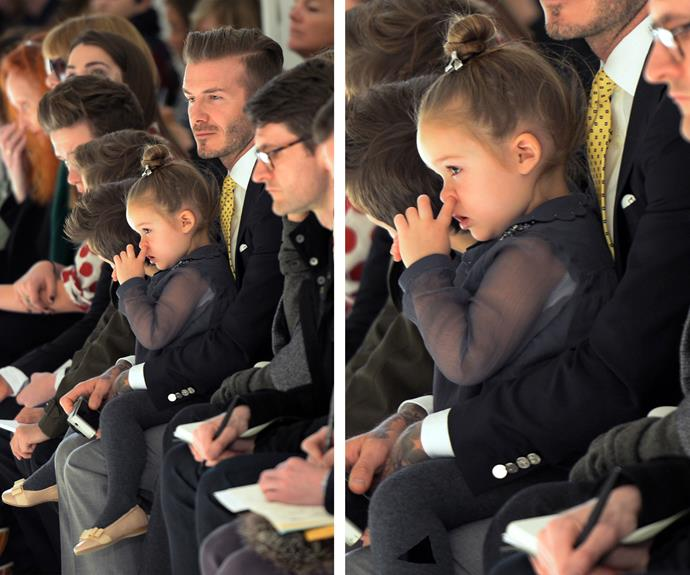 She can't always be the perfect lady! Harper takes a break from her fashion icon duties during her mum's show at Mercedes Benz fashion week.
