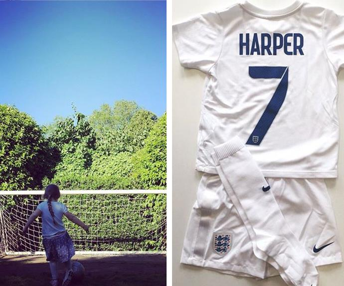 "David Beckham shared this super cute snap of his ""tomboy"" daughter writing: ""Harper Seven taking lessons from her brothers (oh and her dad)"". A few days later the soccer superstar received this gift for his daughter from the British Woman's Football team."