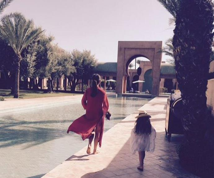 She got it from her mama! Harper and VB throw on glamorous kaftans while they holiday in Marrakech.