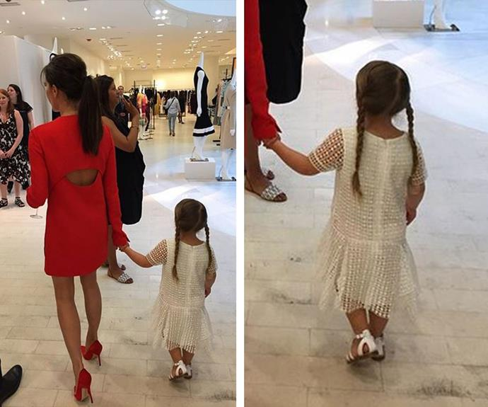 """I'm with my best friend today,"" wrote Posh Spice alongside this adorable pic of the mother/daughter team during a shopping trip to Barneys in LA."