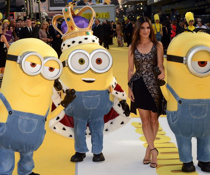 Sandra Bullock was breathtaking at the world premiere of the *Minions* movie in London on Thursday.