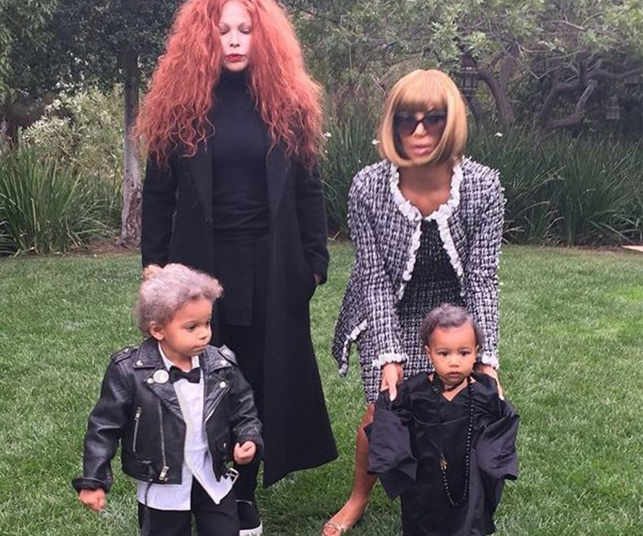Some people like to dress up as ghosts for Halloween, but in this family, it's all about high fashion icons. North channels André Leon Talley and Kim is Anna Wintour.