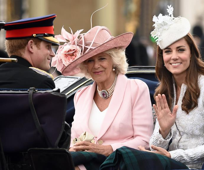 The royals all ride in carriages to the event.
