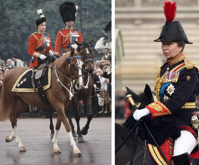 Queen Elizabeth and Prince Philip on horseback in 1965, while Princess Anne shows off her impressive equestrian skills.