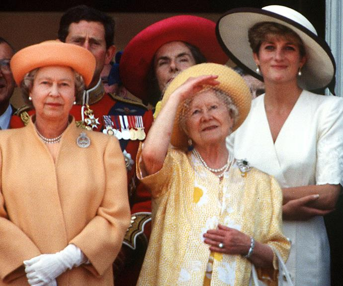 The Queen, the Queen Mother and Princess Diana watch on intently.