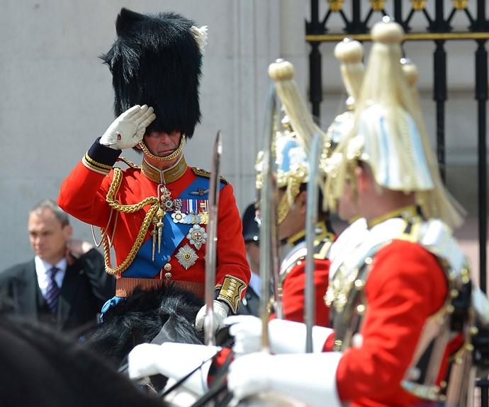 Prince Charles salutes.