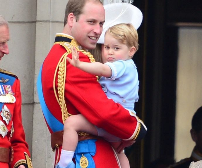 Prince George waving from the balcony.