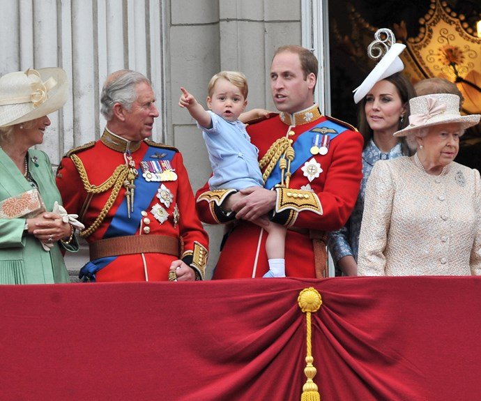 Look at the planes! Prince George is loving his great-granny's celebrations.