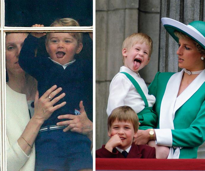 The blonde cutie seems to have learned a thing or two from his charming uncle Harry! At this year's Trooping the Colour George couldn't resist poking out his tongue as he watched his parents in the parade, just like his uncle did way back in 1988.