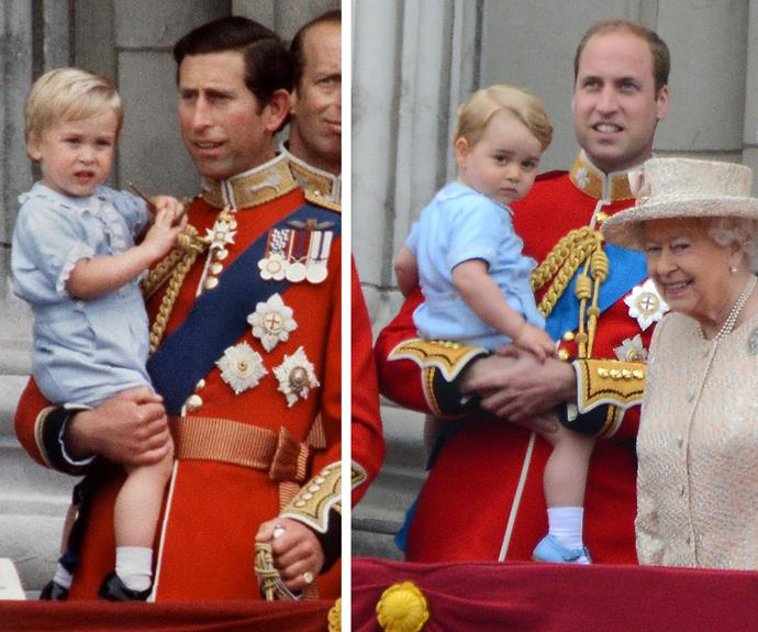 You'd be forgiven if you thought you were seeing double! Prince George is the spitting image of his dad. The 22-month-old is rocking out the exact same outfit on his first Buckingham Palace balcony debut. The blue romper with cream frill and gold buttons was also worn by William for his balcony debut in 1984.