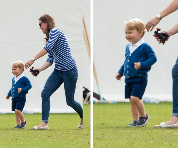 Cheeky! Prince George kept mum, The Duchess of Cambridge, on her toes as they played on the grass during the polo match.