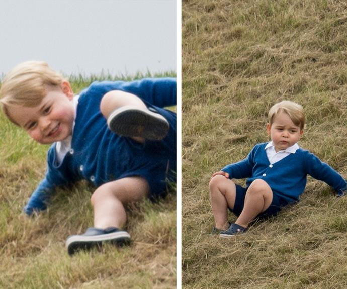 Even the future King of England needs to muck around in the grass!