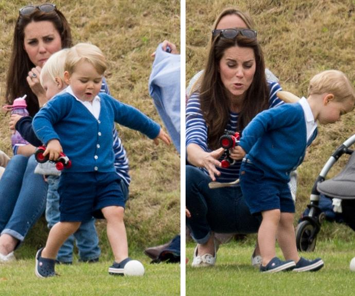 Duchess Catherine was certainly kept busy with a very curious Prince George exploring his surroundings!
