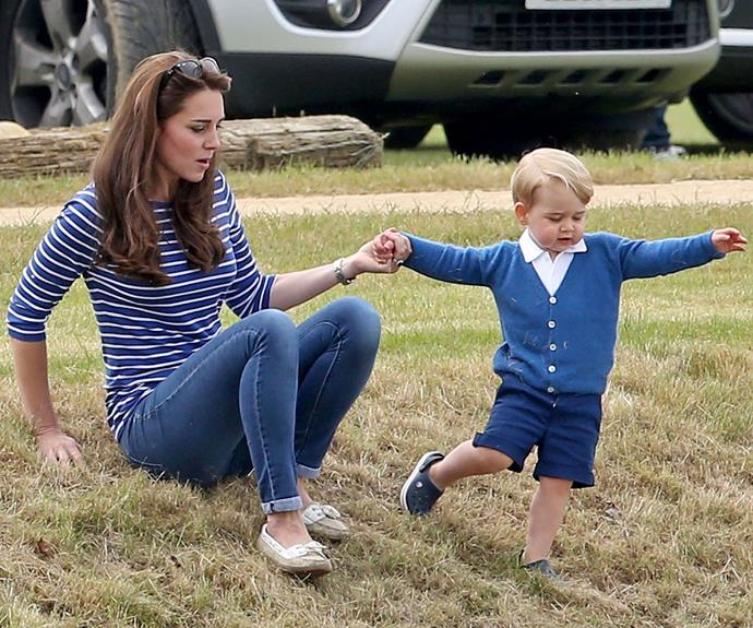"An onlooker told *Us Weekly* ""when he [Prince George] saw his cousins rolling around on a hill, he wanted to get involved too."""
