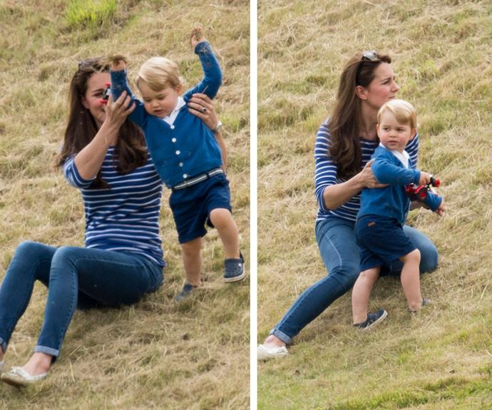 The Duchess of Cambridge looked every bit a doting mum as she happily played with Princes George in the grass.