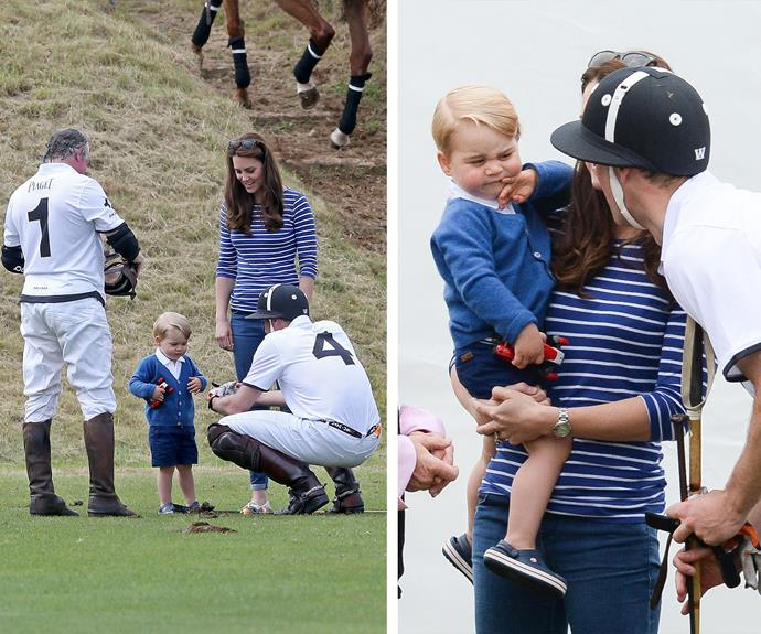 Prince William took a break from playing in the charity polo game to check up on gorgeous George.