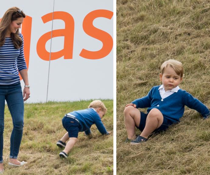 Duchess Catherine looked bemused by her son's hilarious antics.
