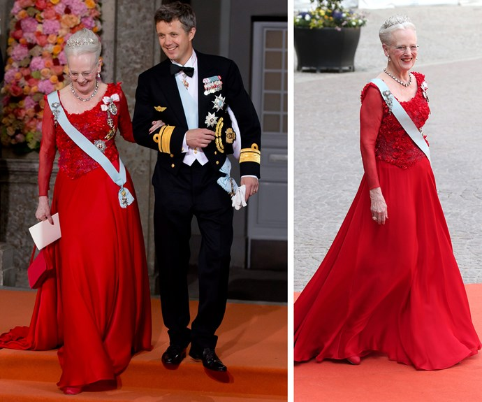 Crown Prince Frederik joins his mother Queen Margrethe II of Denmark. The 75-year-old looked incredible in a show-stopping red dress.
