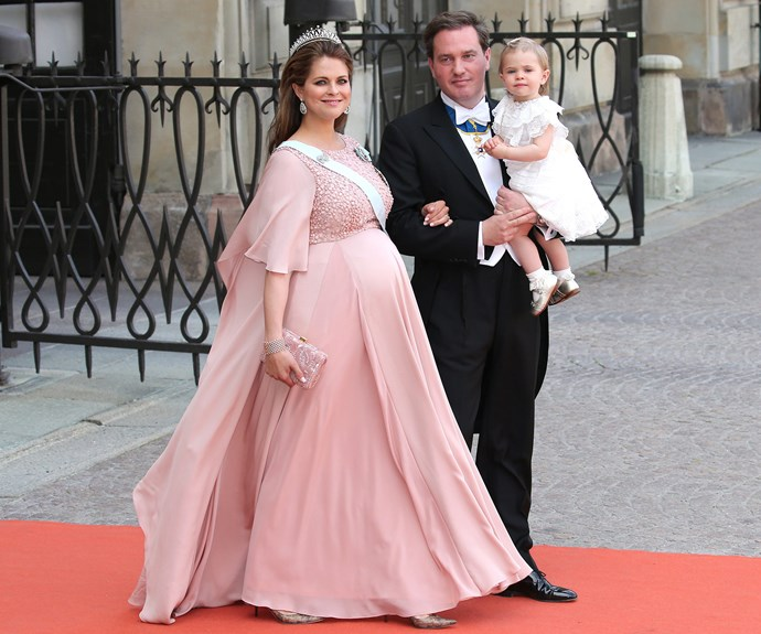 Carl Philip's little sister Princess Madeleine, who is pregnant with her second child, looked radiant in a plush pink frock. She was joined by her husband Christopher O'Neill and daughter Princess Leonore.