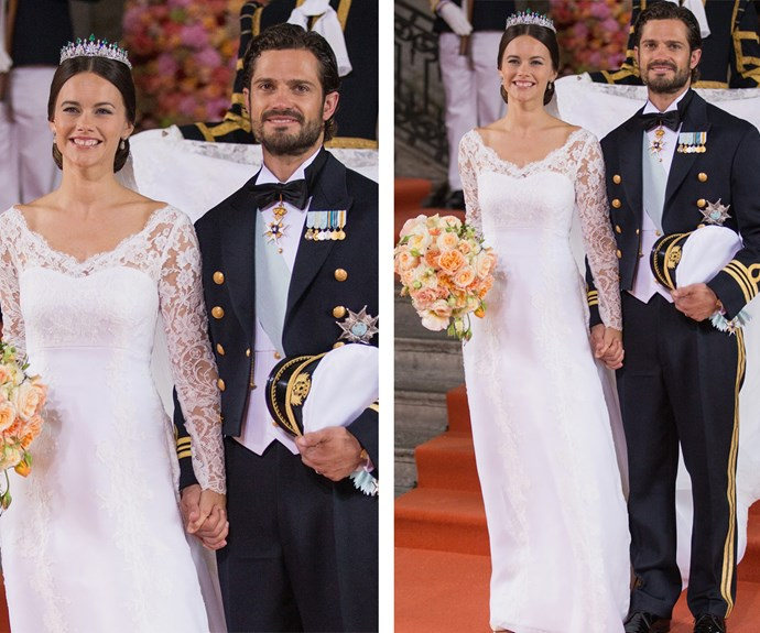 Sofia looked stunning in a long-sleeved lace gown while the Prince opted for his military suit.