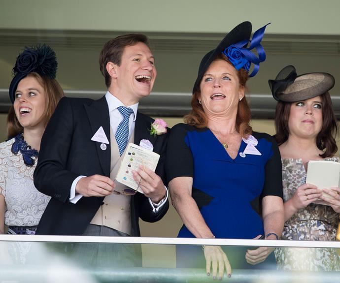 Sarah Ferguson seemed to be having a splendid day with Princess Beatrice's boyfriend Dave Clark.
