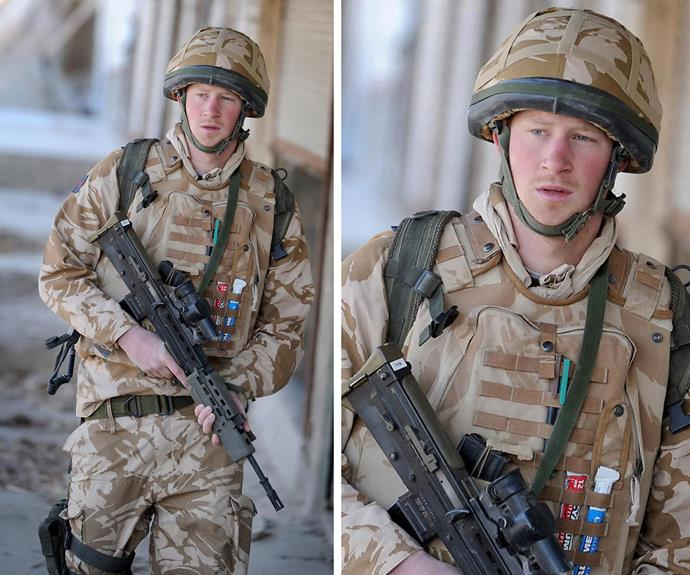 Captain Wales has always taken his military duty seriously, here he is on patrol in the desert back in 2008.