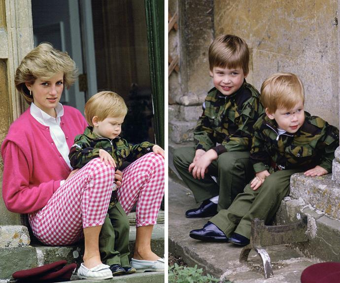 Even from a young age Prince Harry looked great in camo, seen here with his doting Mum, Princess Diana and his brother Prince William.