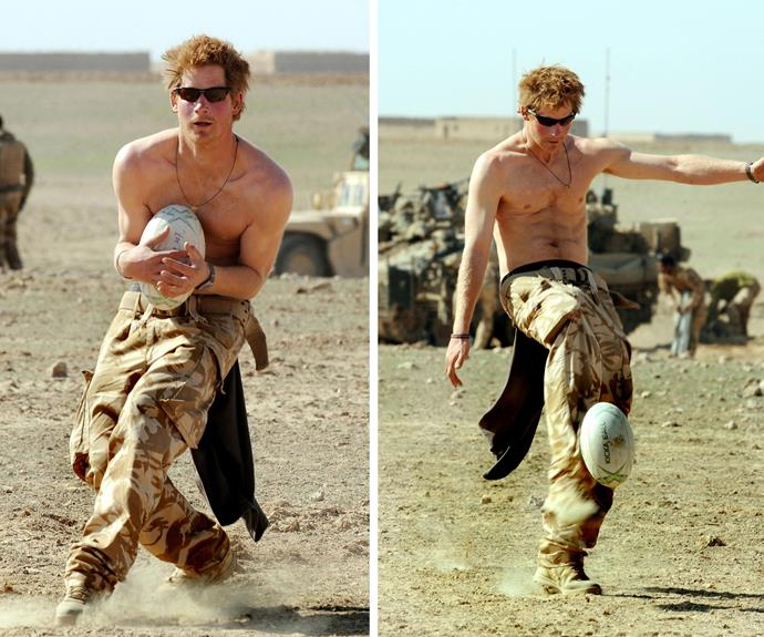 Prince Harry takes a break while on duty in the Afghan desert.