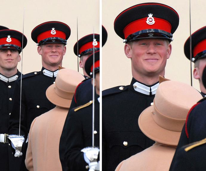 Still Cheeky! Captain Wales cracks a smile as his granny passes him during the Queen's Sovereign day Parade in 2006.