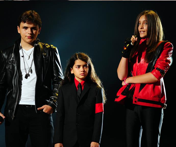 Prince, Paris and Blanket address the crowd at their father's tribute concert in 2011.