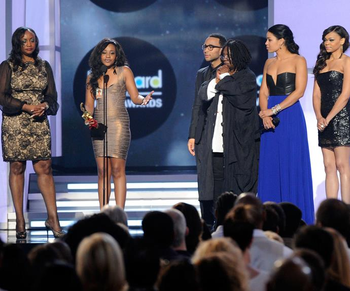Bobbi Kristina Brown accepts the Millennium Award on behalf of Whitney Houston onstage at the 2012 Billboard Music Awards.