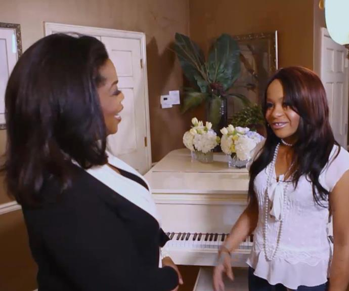Bobbi Kristina is interviewed by Oprah Winfrey on Oprah's *Next Chapter* a month after the death of her mother.